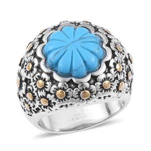Jewelry - Blue Howlite ION Plated YG and Stainless SteelRing